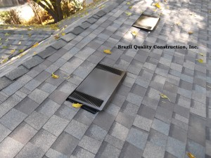 Low Profile Roof Vent installed in composition shingles.